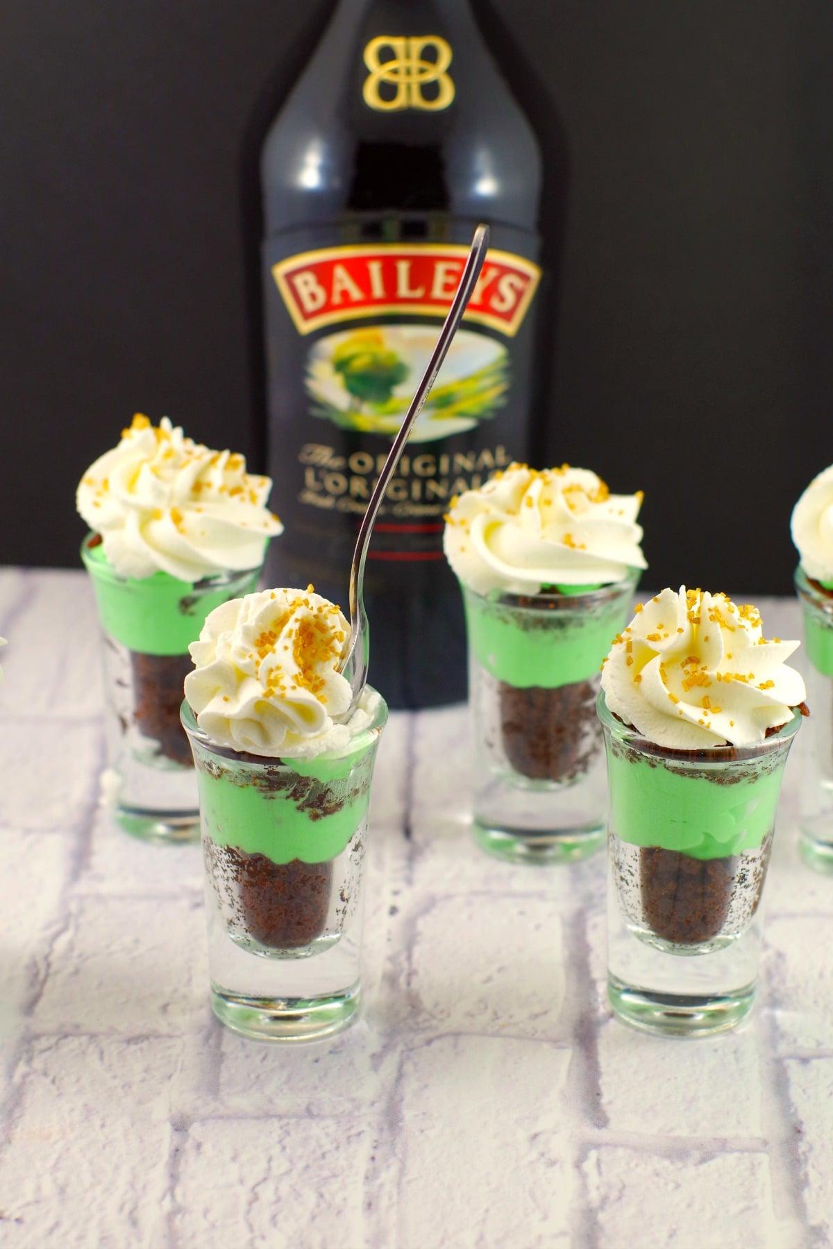 Irish Cream Dessert Shots |green dessert- Foodmeanderings.com