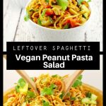 2 photo collage of vegan peanut pasta salad
