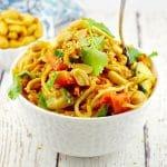 Spicy Vegan Peanut Pasta Salad in bowl with bowl of peanuts in the backgaorun
