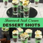 Collage of 2 photos: Irish Cream Dessert Shots on bottom, with baileys bottle and dessert shots on plate in top photo