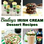 collage of 4 of the 10 Baileys Irish cream recipes in the post (including baileys cookies, dessert shots, drink and dip)