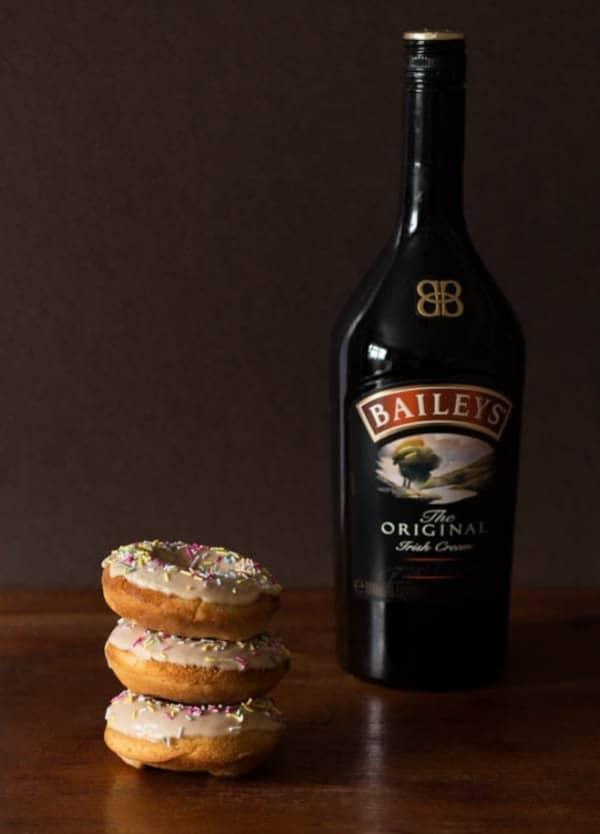 Baked Baileys Doughnuts with a Baileys Glaze
