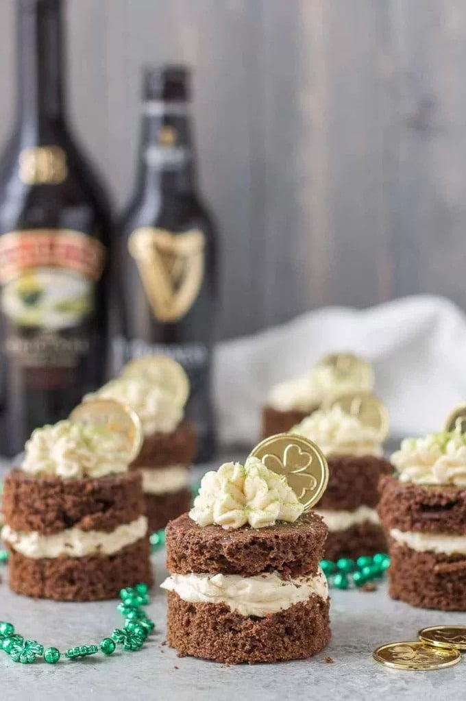 Chocolate Guiness Mini Cakes with Baileys Irish Cream