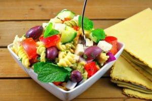 Bowl of greek pasta salad