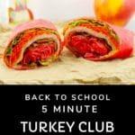 turkey club ranch wrap on brown paper