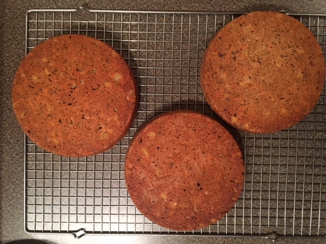 healthy carrot cake - right out of the pan using wilton cake release
