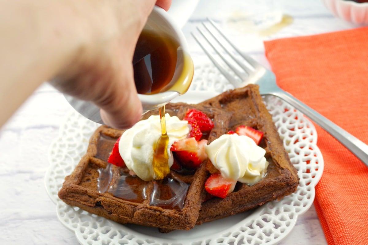 Chocolate Waffles Recipe | Belgian waffles - Foodmeanderings.com