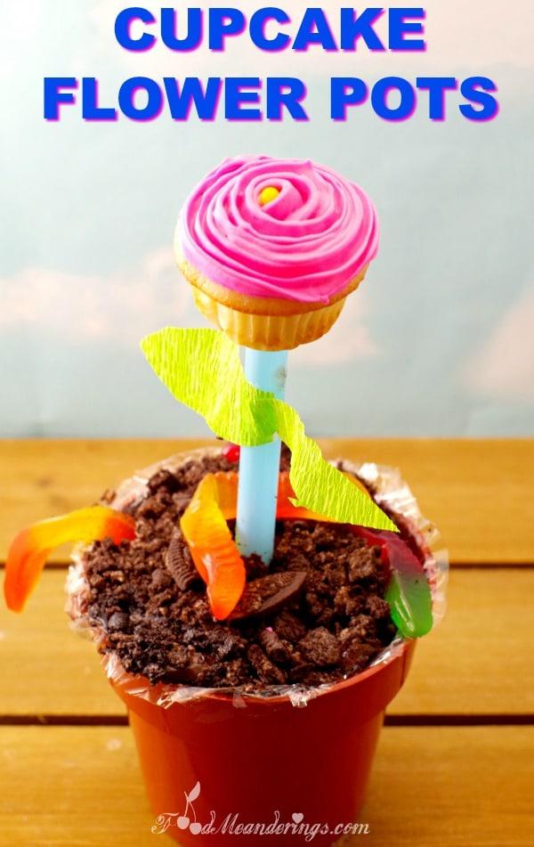 Cupcake Flower Pots - an edible DIY craft for kids - foodmeanderings.com