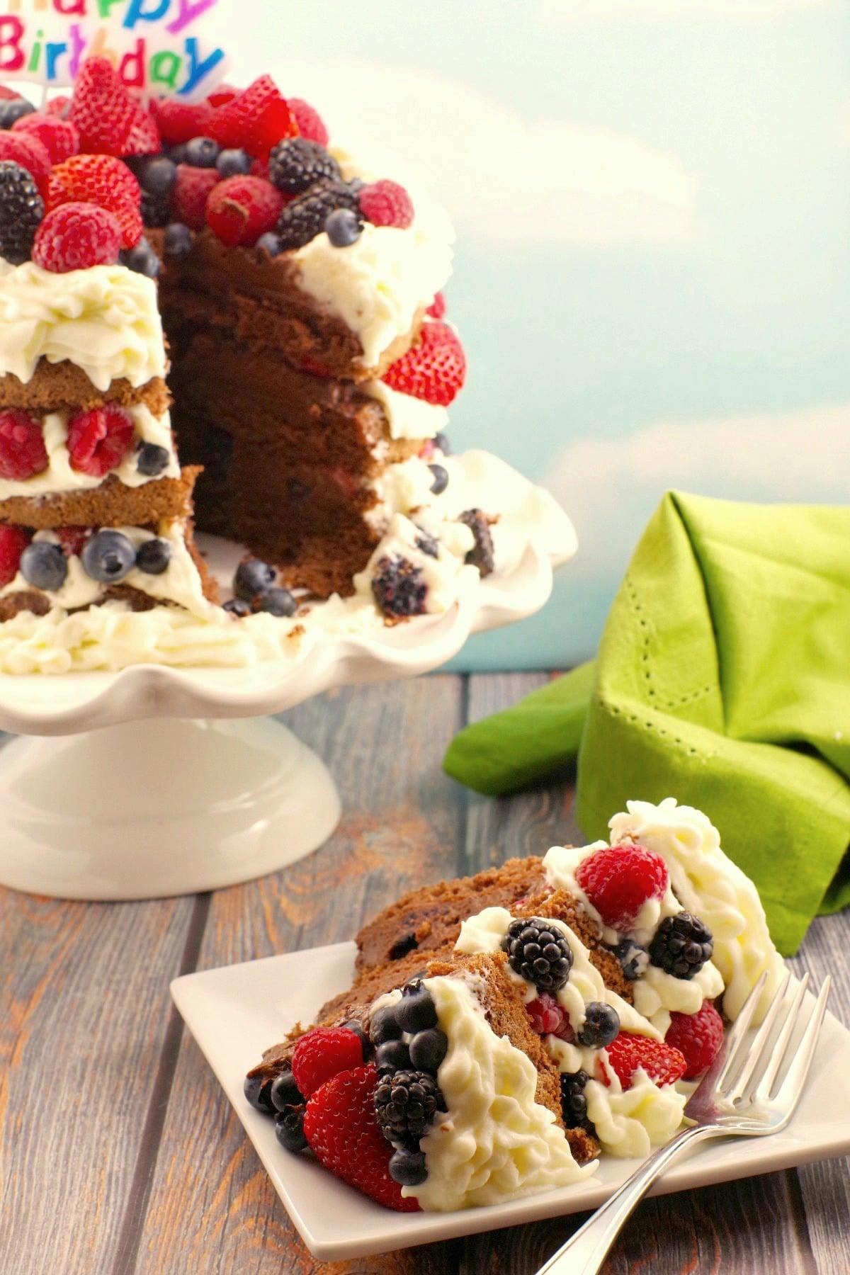 Chocolate Italian Sponge Cake with summer berries- sliced