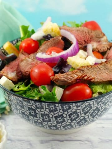 Grilled Steak Salad with feta and clamato dressing - weight watchers friendly