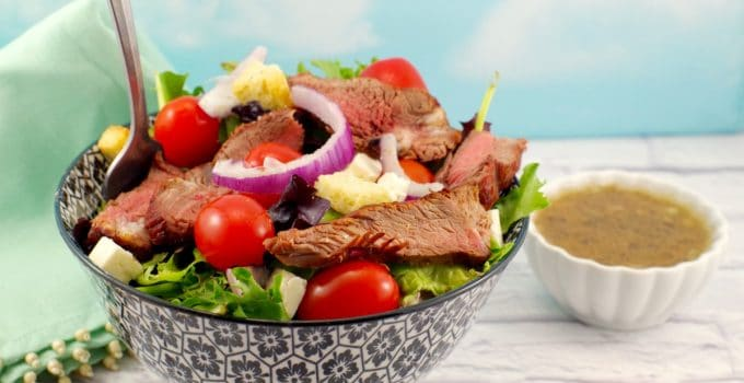 Grilled Steak Salad with Feta and Clamato Dressing (Moxie's Copycat): Weight Watchers Friendly