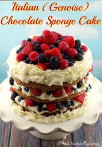 Italian Genoise Chocolate Sponge Cake with summer berries , whipped cream icing and chocolate mousse- foodmeanderings.com