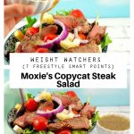 Collage of 2 photos of steak salad