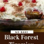 black forest trifle with piece missing
