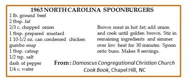 Recipe for North Carolina Spoonburgers written on recipe card