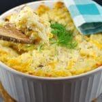 Potatoes Romanoff in a bowl
