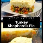Collage pin of turkey shepherd's pie on a plate , bottom photo has glass pan in the background