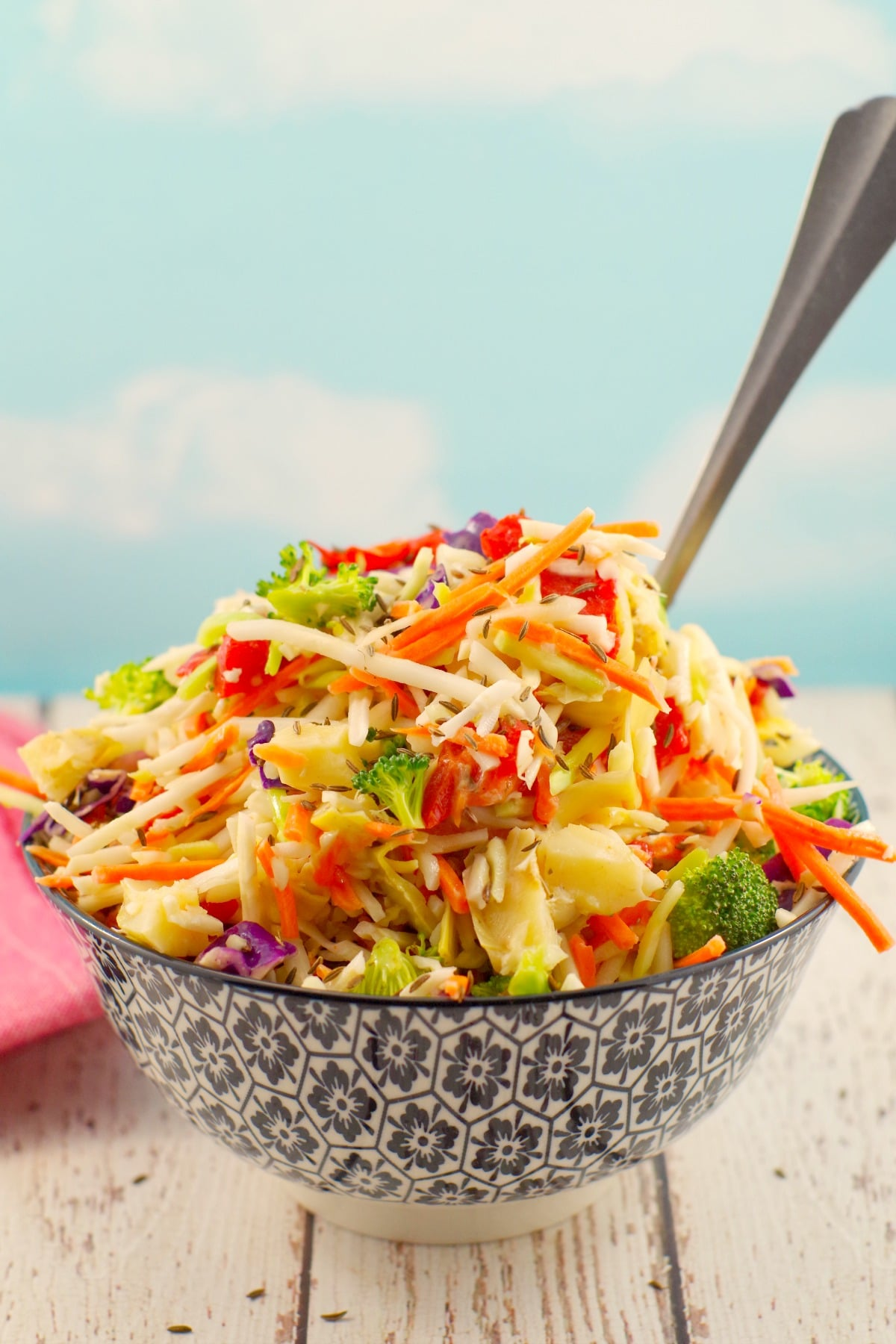 Healthy Artichoke & Roasted Red Pepper Coleslaw   Weight Watchers Friendly