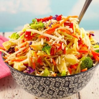 Artichoke & Red Pepper Healthy Coleslaw- foodmeanderings.com