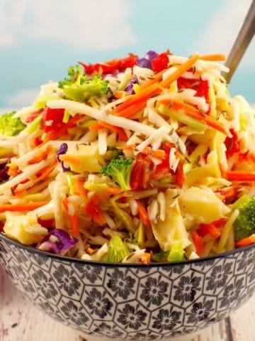 Artichoke & Red Pepper Healthy Coleslaw- foodmeanderings.com