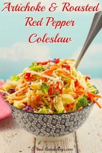 Artichoke & Roasted Red Pepper Coleslaw | Weight Watchers Friendly - foodmeanderings.com