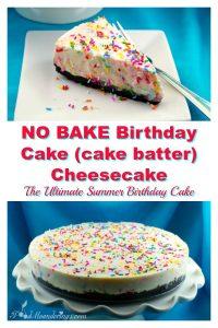 No Bake Birthday Cake (cake batter) cheesecake - foodmeanderings.com