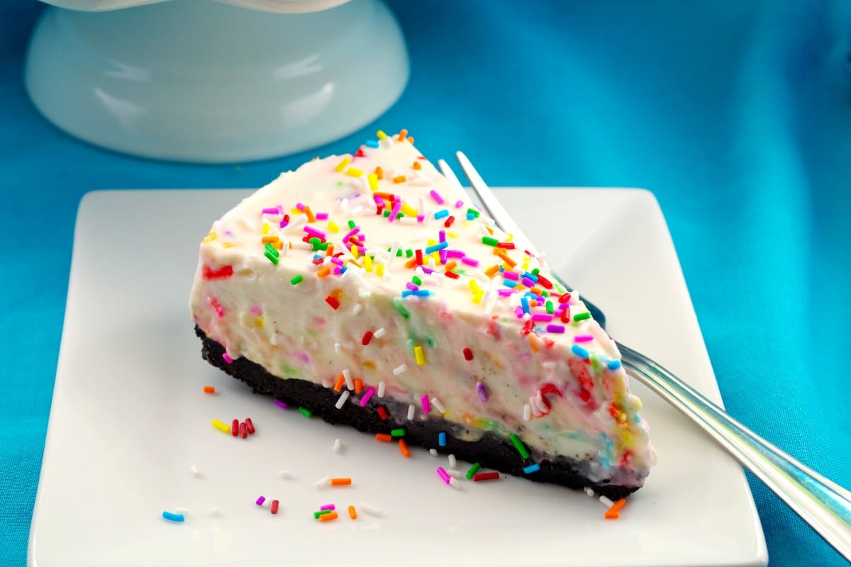 Terrific No Bake Birthday Cake Cheesecake Cake Batter Flavor Food Personalised Birthday Cards Veneteletsinfo