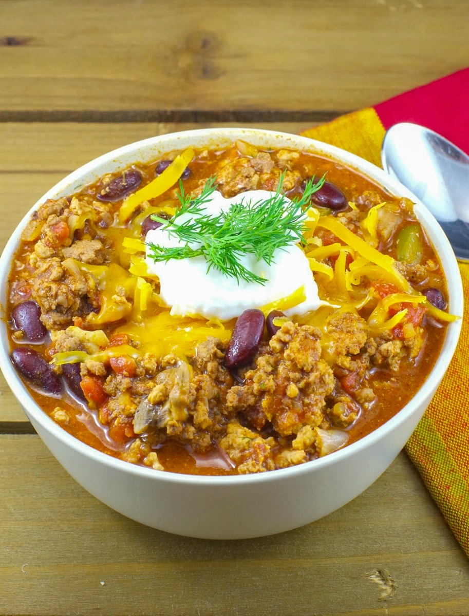 bowl of quick and easy pork beef chili