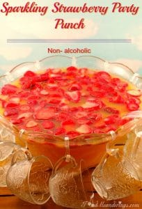 Sparkling Strawberry Party Punch | non- alcoholic - foodmeanderings.com