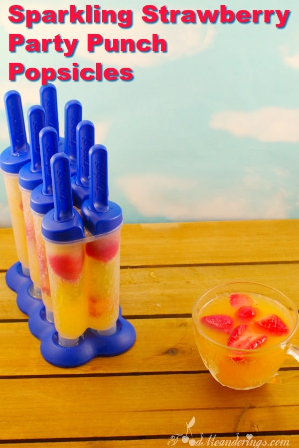 Sparkling Strawberry Party Punch Popsicles - foodmeanderings.com