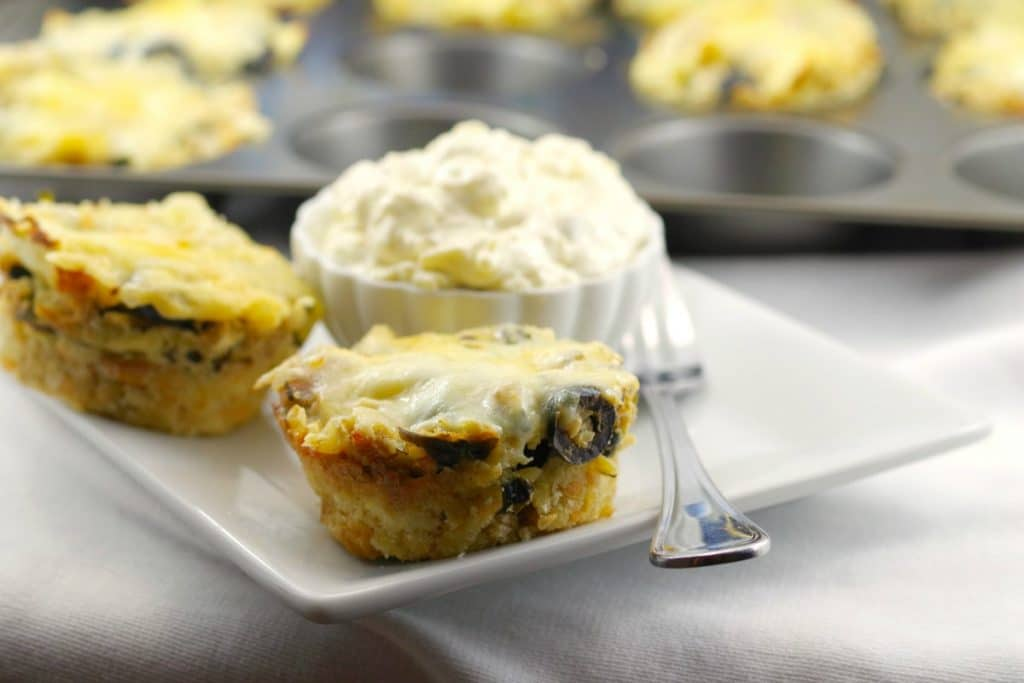 Greek Lasagna Cups with garlic toast - foodmeanderings.com