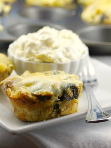 Greek Lasagna Cups with garlic toast - foodmeanderings.com