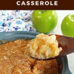 Pinterest pin with text at the top and bottom and photo of Weight Watchers turnip and apple casserole in a blue casserole dish. The casserole is being held up on a dark brown wooden spoon with 2 green apple and a blue flower pattern oven mitt in the background.