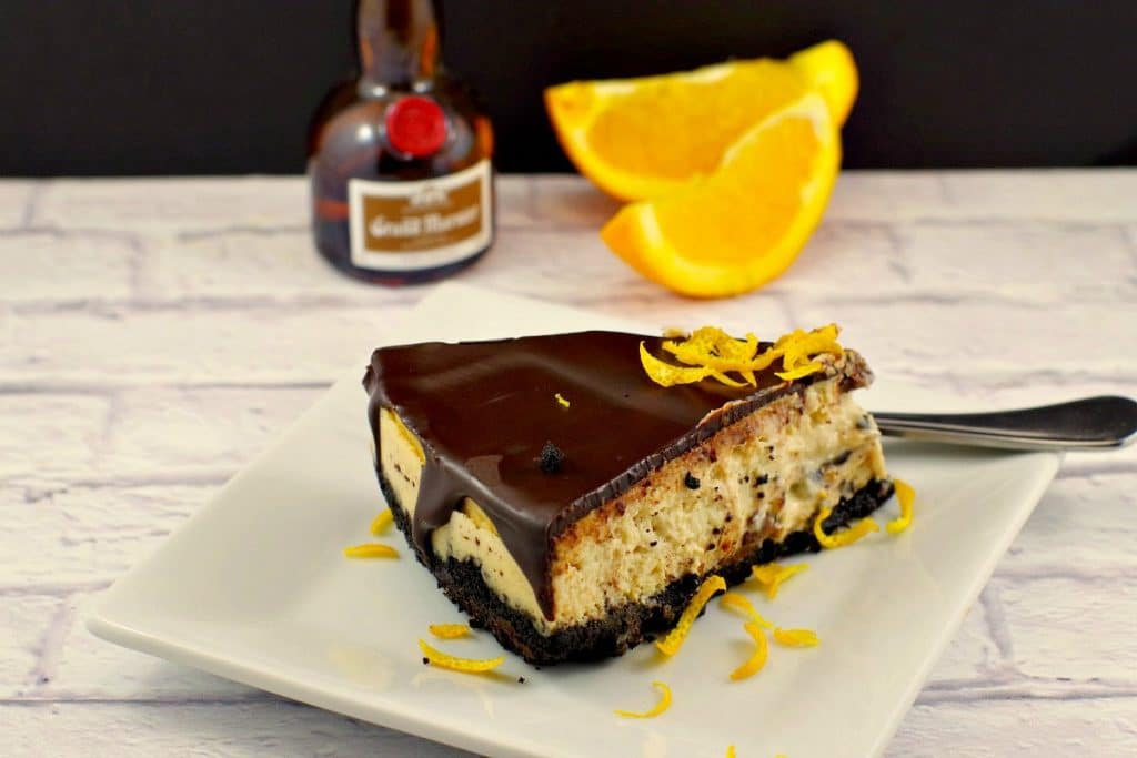 Baked Grand Marnier Cheesecake | with chocolate glaze - foodmeanderings.com