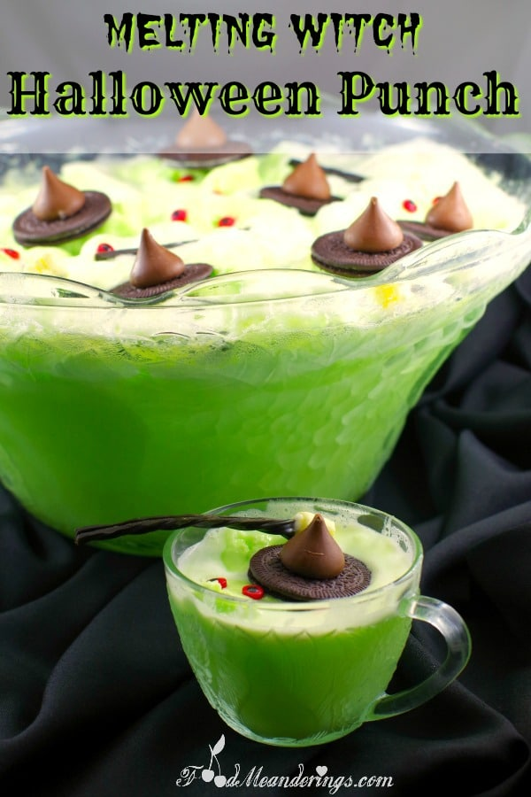 Green Halloween Punch for kids | #nonalcoholic #punch - foodmeanderings.com