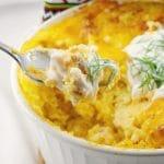 Perogy Breakfast Casserole | with frozen perogies - foodmeanderings.com