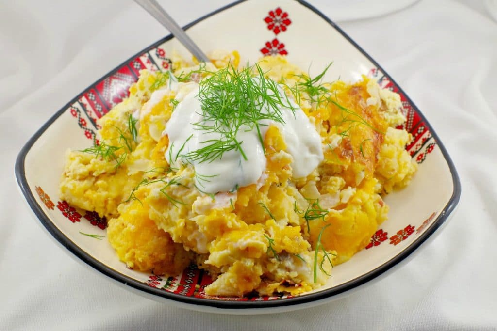 Pierogi Breakfast Casserole | with egg - foodmeanderings.com