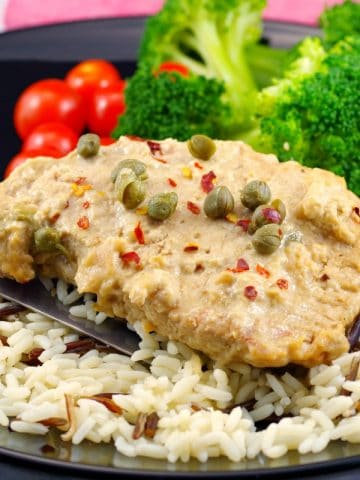 Weight Watchers Boneless Pork | with caper sauce - foodmeanderings.com