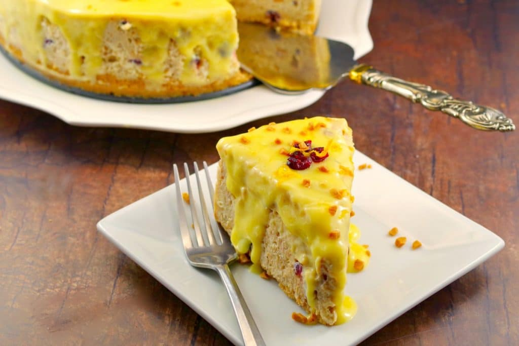 Cranberry Bread Pudding Cheesecake   holiday cheesecake - foodmeanderings.com
