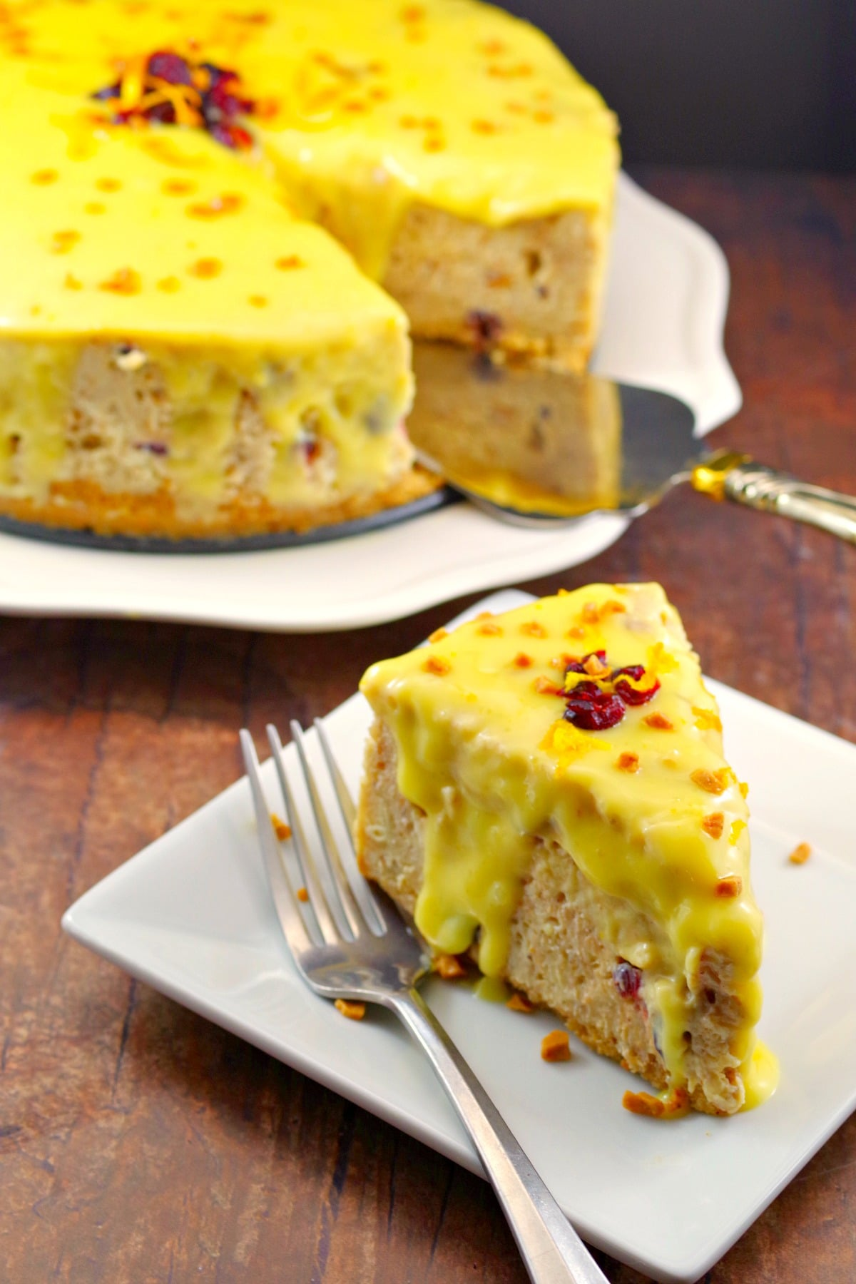 Cranberry Bread Pudding Holiday Cheesecake Recipe   #cheesecake #holiday #bread pudding