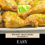 Pin with text and photo of Easy Baked Hoisin Chicken on a platter
