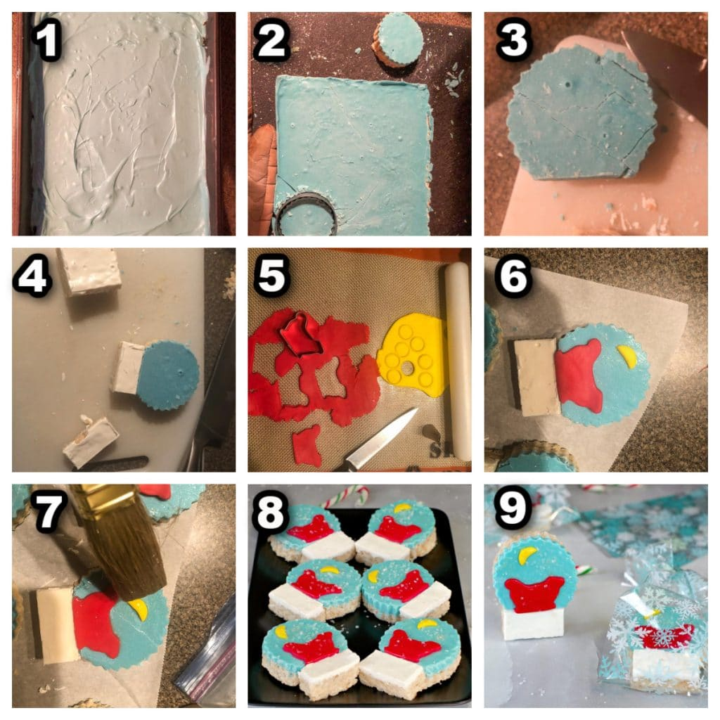 collage of 9 photos showing how to make snow globe rice krispie treats