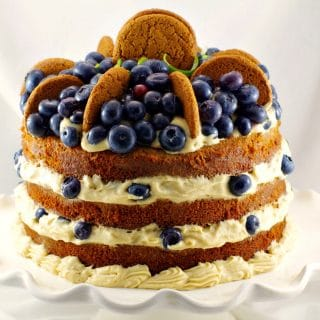 Old Fashioned Gingerbread Cake | Blueberry Cookie Butter Filling - foodmeanderings.com