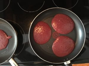 Red Velvet pancakes with beets - pour ¼ cup