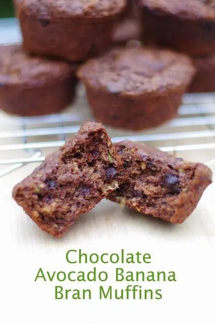 Chocolate Avocado Banana Bran Muffin | healthy bran muffin