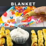 Pinterest Pin with white text on black background at top and bottom and photo of French toast pigs in a blanket being dipped in whipped cream