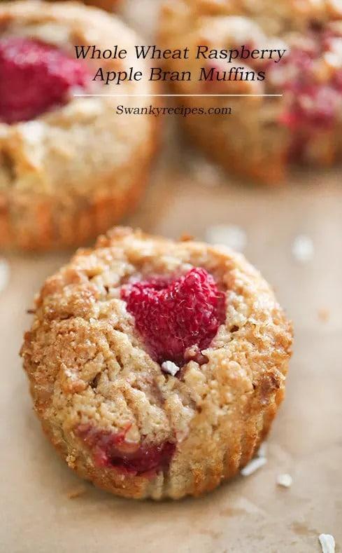 Whole Wheat Raspberry Apple Bran Muffin