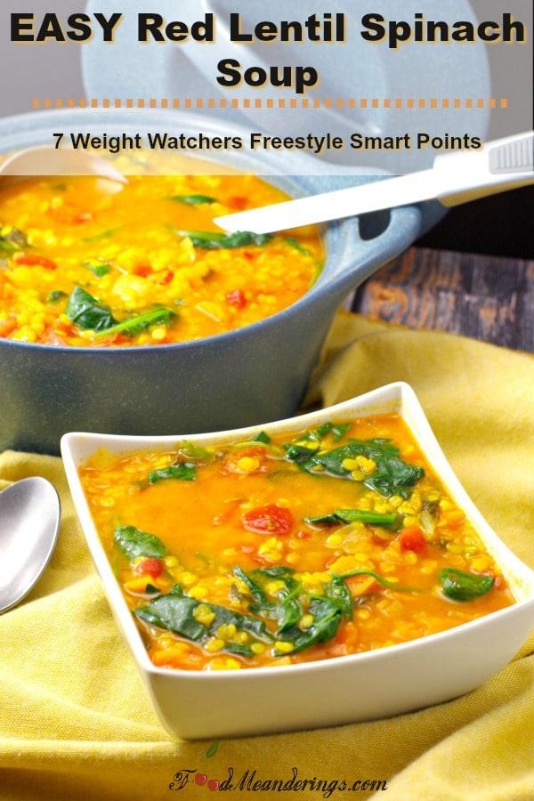 Easy Red Lentil Spinach Soup | #lentil #spinach #soup -foodmeanderings.com
