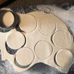 Chinese potstickers assembly - cut dough into 3 inch circles