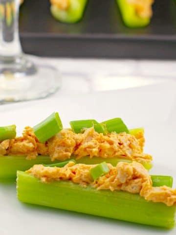 Skinny (Keto) Buffalo Chicken Celery Sticks - weight watchers appetizer